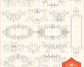 Digital Doodles Frames Clip Art. Personal and Small Commercial Use. BP 0357