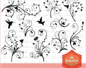 Instant Downloads, 9 Florals and 2 Hummingbirds Black Silhouettes Clip Art, Personal and Small Commercial Use. BP 0402