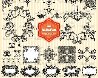 Instant Downloads, 25 Vintage Design Clip Art. Personal and Small Commercial Use. BP 0077