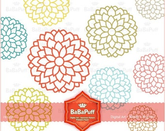 Instant Downloads, Flower Designs 9 Colors. Clip Art For Your Personal and Small Commercial Use. BP 0118