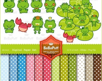 Instant Downloads, Digital Frogs & Water Lily Leaf Clip Art --- Personal and Small Commercial Use. BP 0123