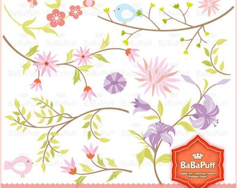 Floral Designs Clip Art for Wedding invitation card. Personal and Small Commercial Use. BP 0209