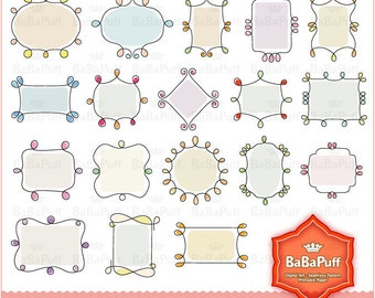 18 Digital Doodles Frames X 2 Set. Personal and Small Commercial Use. BP 0227