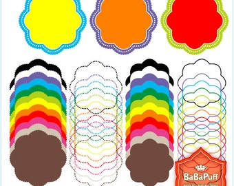 Instant Downloads, 12 X 4 Sets Circle Frames Clip Art. For Your Handmade Crafts Projects. Personal and Small Commercial Use. BP 0287