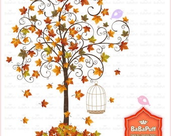Instant Downloads, Fall Tree Maple Leaf and Birds Clip Art. Personal and Small Commercial Use. BP 0291
