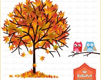Instant Downloads, 4 Fall Trees & Owls, Red Maple Leaf, ClipArt For Your Handmade Crafts Project. Personal and Small Commercial Use. BP 0294