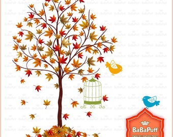 Instant Downloads, Fall Tree and Birds, Maple Leaves Clip Art For Your Handmade Crafts Projects. Personal and Small Commercial Use. BP 0292