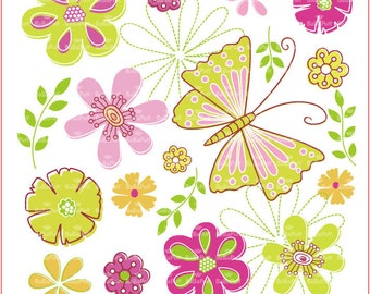 Flowers and Butterfly Clip Art. Personal and Small Commercial Use. BP 0296