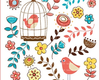 Instant Downloads, Digital Flowers & Birds. Clip Art For Your Handmade Crafts Projects. Personal and Small Commercial Use. BP 0298.