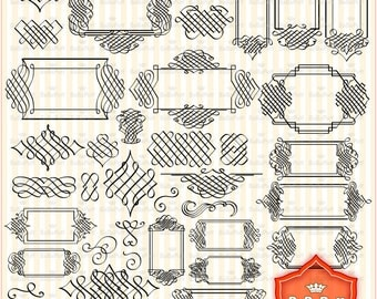 Digital French Style Frames Clip Art. Personal and Small Commercial Use. BP 0311
