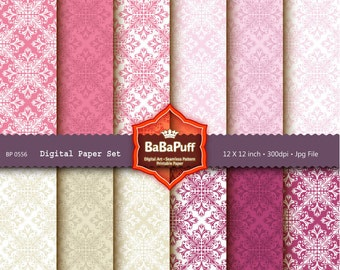 Instant Downloads, 12 Digital Damask Papers. Clip Art For Packaging, Handmade Crafts Projects. Personal and Small Commercial Use. BP 0556