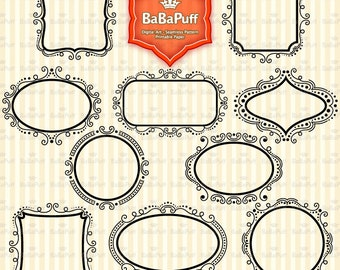 Instant Downloads, 10 Digital Frames Clip Art, For Your Handmade Crafts Projects. Personal and Small Commercial Use. BP 0567