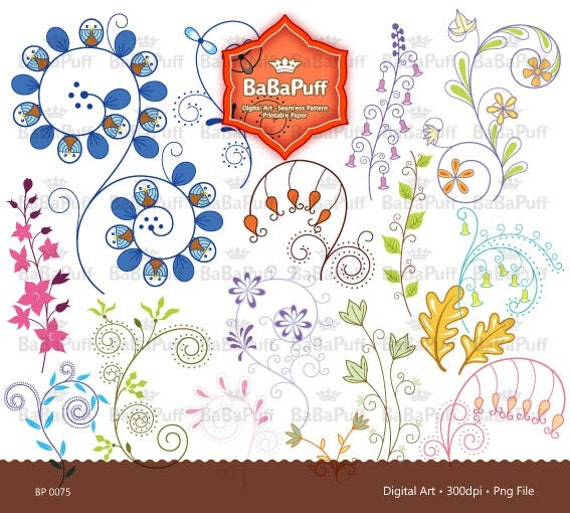 Instant Downloads, 16 Floral Designs Clipart for wedding invitations making, DIY Projects, Personal and Small Commercial Use. BP 0075