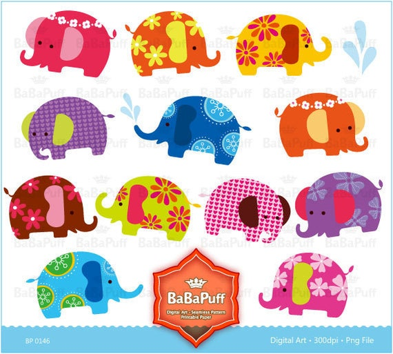 Instant Downloads, Baby Elephants Clip Art. Personal and Small Commercial Use. BP 0146