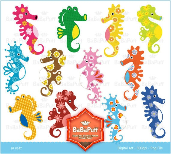 Instant Downloads, Digital Seahorse Clip Art. For Your Handmade Crafts Projects. Personal and Small Commercial Use. BP 0147