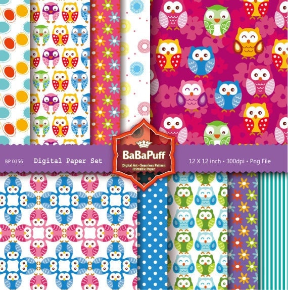 Instant Downloads, 10 Printable Digital Papers, Baby Owls Paper, Scrapbooking Paper Cards Making. Personal and Small Commercial Use. BP 0156