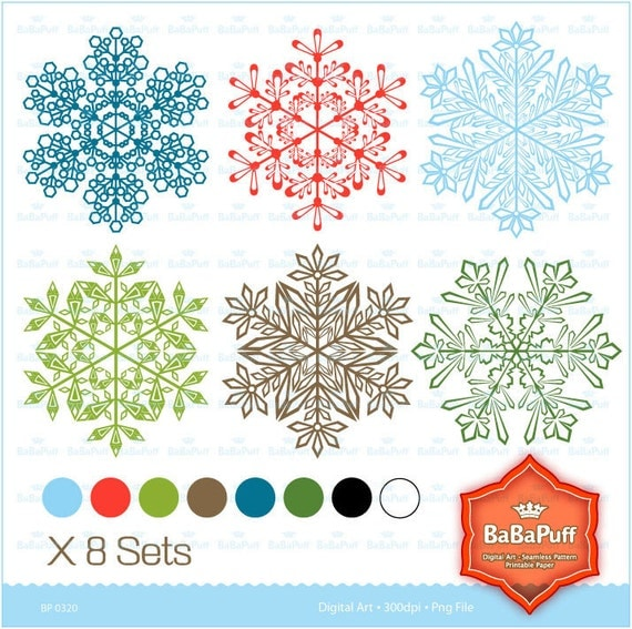 Instant Downloads, 48 Christmas Snowflakes Clipart, Personal and Small Commercial Use, BP 0320