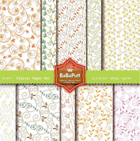 Instant Downloads, 10 Digital Papers, Scrapbook Paper, Gift Wrap, Print Papers at Home DIY. Personal and Small Commercial Use. BP 0375
