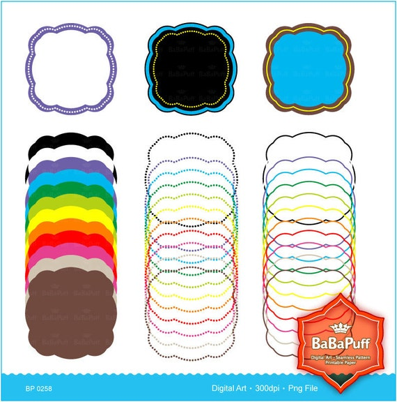 Instant Downloads, 12 X 3 Sets Frames Clip Art. For Your Handmade Crafts Projects. Personal and Small Commercial Use. BP 0258