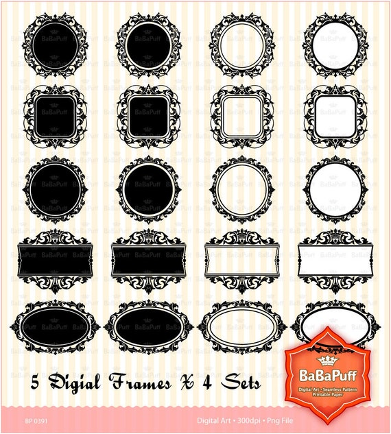 Instant Downloads, 5 Damask Crown Frames X 4 Sets. Personal and Small Commercial Use. BP 0391