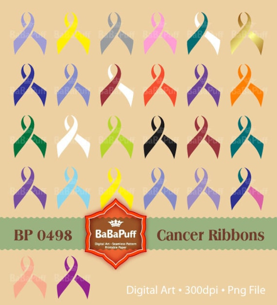26 Printable Cancer Ribbons, Personal and Small Commercial Use. BP 0498