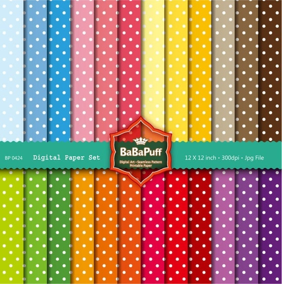 Instant Downloads, 24 Digital Polka Dots Papers. Clip Art For Your Handmade Crafts Projects. Personal and Small Commercial Use. BP 0424