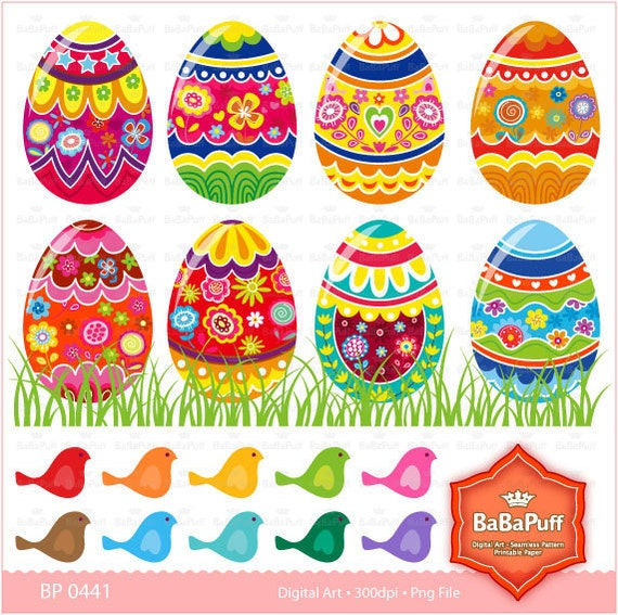 Easter Eggs and Birds Clip Art. Personal and Small Commercial Use. BP 0441