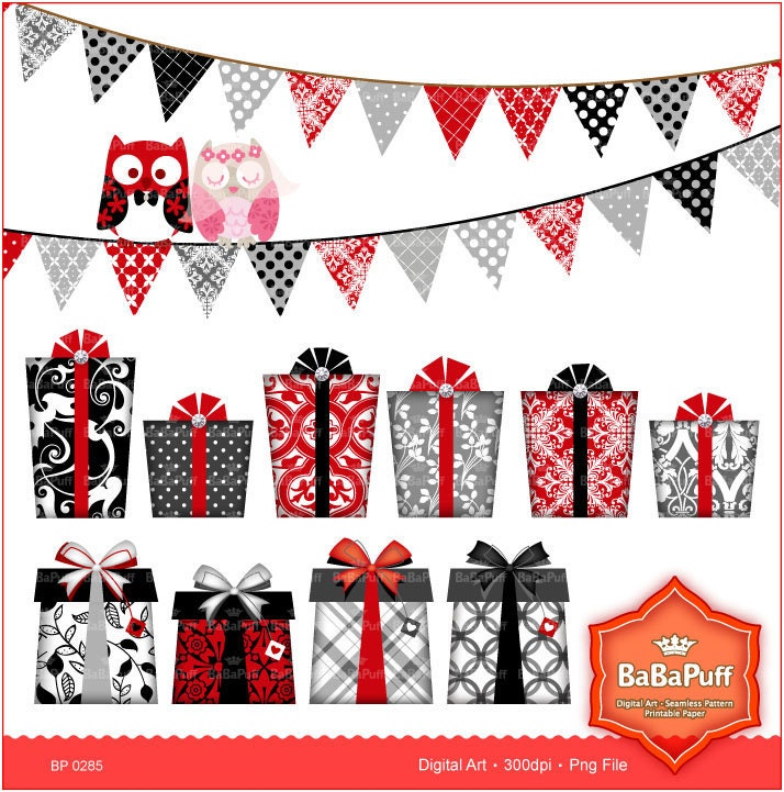 Wedding Gift Clipart : Wedding Gift Box Flags Owls Clip art for scrapbooking