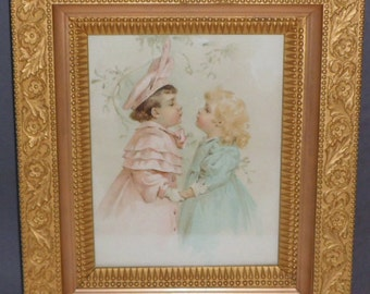 Sale Chromolithograph Print Framed Maud Humphrey Boy Girl Mistletoe Christmas