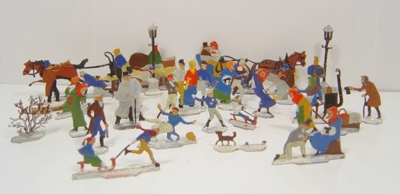 Vintage Christmas Putz German Lead Figures Skating Party 27 Miniatures Flats