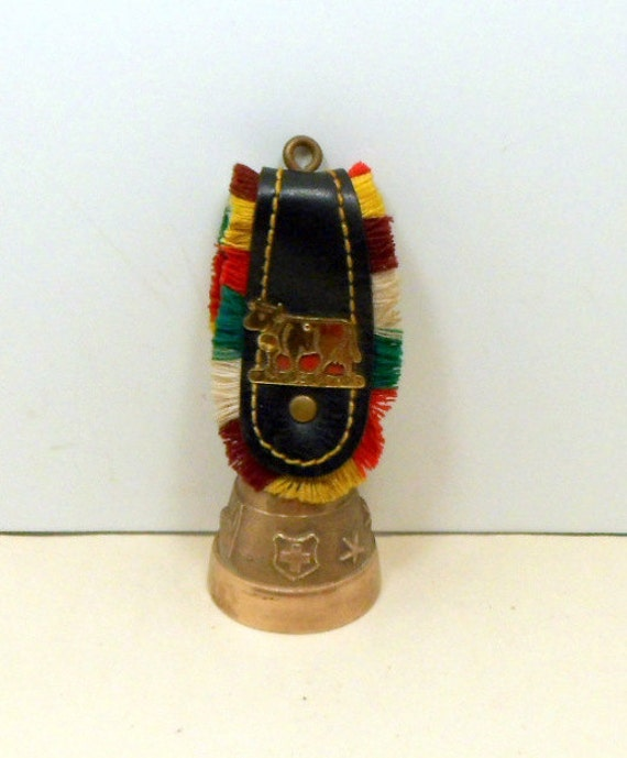 Vintage Swiss Brass Cow Bell Fringed Leather Strap