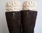 Boot cuffs  / Boot socks / Short Cable Leg warmers / Boot tops  for girls, teens, women - BEIGE - (more colors available)