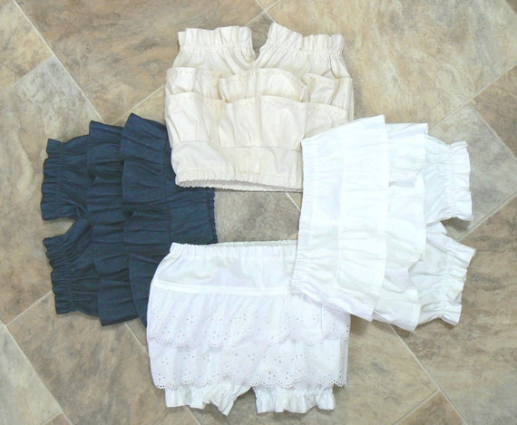 100 % Cotton  Denim Ruffled Shorty bloomers diaper covers size 0-3 month to girls size 5