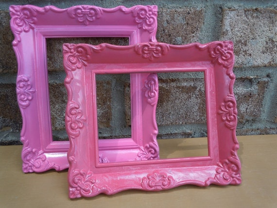 Upcycled ornate small frames hot pink home decor wall hanging cottage chic shabby chic kitsch
