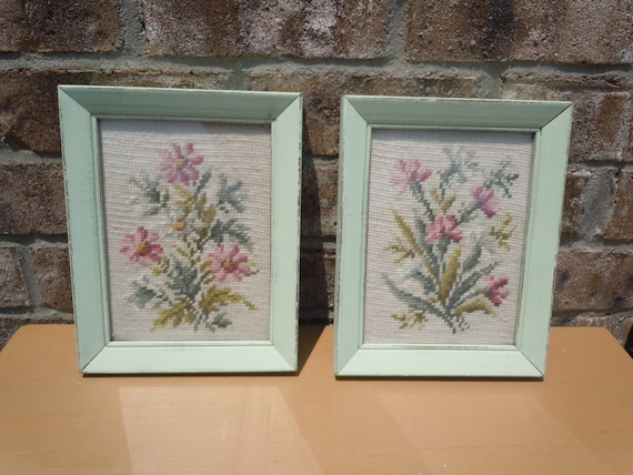 vintage needlepoint flower frames vintage upcycled frame light green vintage decor distressed cottage chic shabby chic