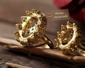 4PCS High Quality Adjustable Gold Plated Brass Filigree Rings With 10X14MM Blank Setting