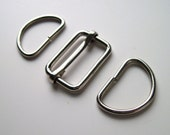 "1 1/2"" silver bag strap adjuster and D rings set. UK shop, bag making haberdashery"