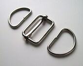 """1"""" Bag slider & D rings set silver UK SHOP"""