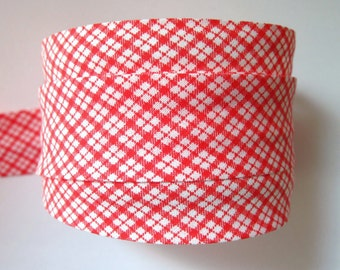 Checked gingham bias binding, RED, UK SHOP