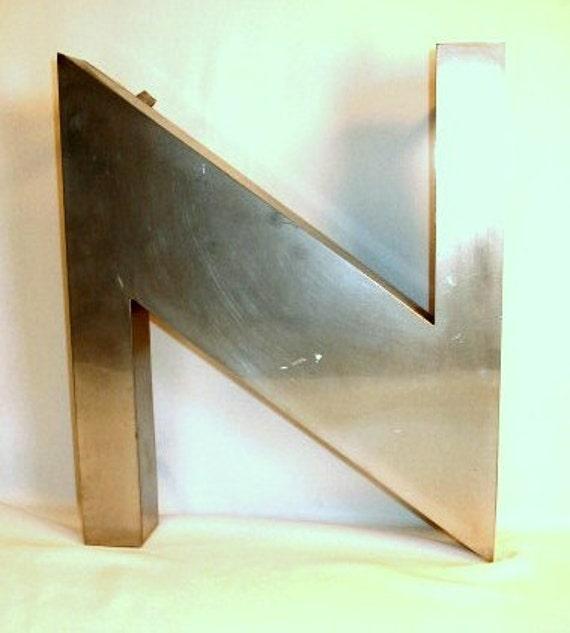 Mid-Century Modern, Large Vintage Letter N, Looks like Stainless Steel