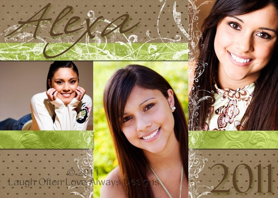 Graduation Announcement Template Photoshop Elements - Green & Brown