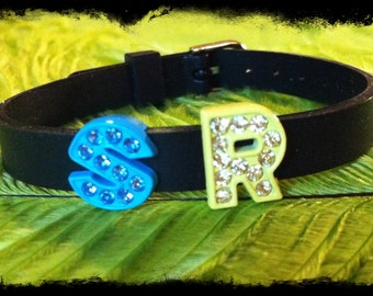 Personalized Rubber 8mm Band Bracelet with 2 Charms of your choice