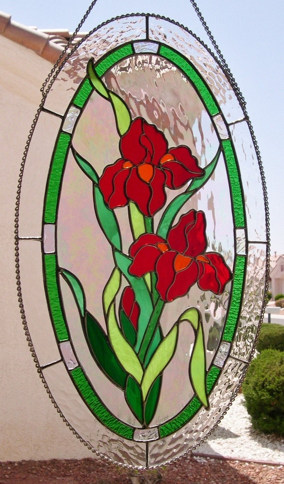 Stained Glass Oval Red Iris Flowers Stainedglassbywalter