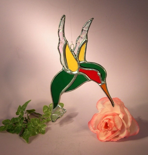 Stained Glass Hummingbird with Ruby Throat