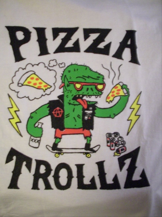 PIZZA TROLLZ tee LARGE (white)