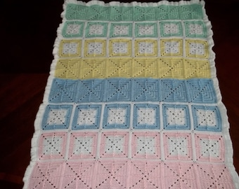 Ready To Ship - Rainbow Squares Baby Afghan