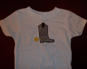 Cowboy Boot Appliqued Tshirt - Toddler Tshirt sizes 12 months to 5/6