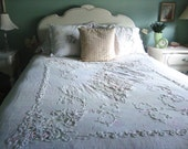 Antique Handmade Embroidery Lace Ivory Bed Coverlet