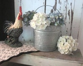 Galvanized Pail Bucket with Handle - French Country Farmhouse
