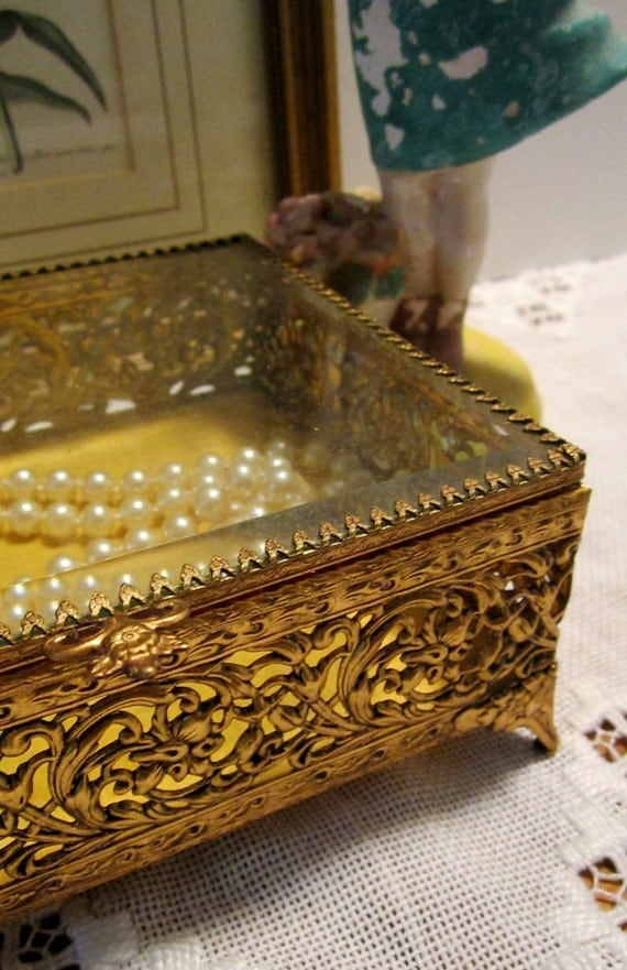 24K Gold Plated Matson Filigree Jewelry Casket Box - Shabby Chic